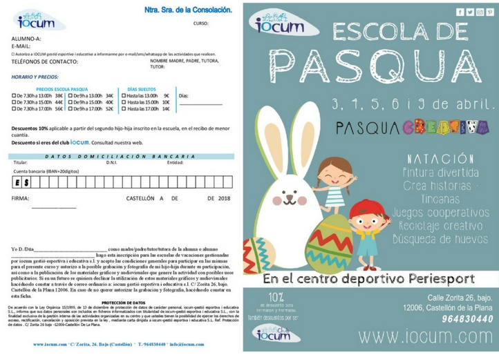 Escola de Pasqua Creativa 2018 Periesport
